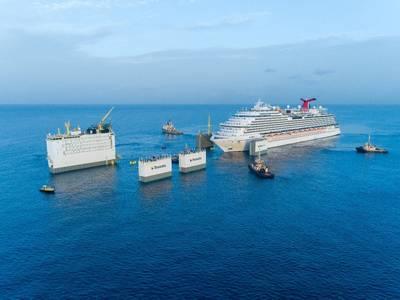 Positioning of Carnival Vista above deck of BOKA Vanguard. Photo: Royal Boskalis Westminster N.V.