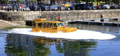 Quacker Takes to the Water: Photo courtesy of Yellow Duckmarine