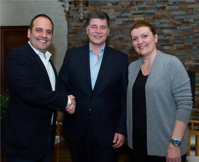 L-R Socrates Theodossiou, Managing Director, Tototheo Group Ltd, Ronald Spithout, President, Inmarsat Maritime and Despina Panayiotou Theodosiou, Managing Director Tototheo Group Ltd Photo Inmarsat