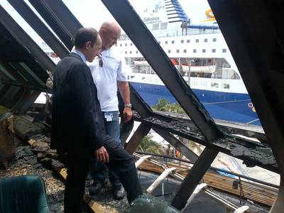 RCI CEO Inspects the Damage: Photo credit RCI