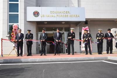 Rear. Adm. Bill Byrne, commander U.S. Naval Forces Korea; Gen. Curtis Scaparrotti, commander, U.S. Forces Korea; VAdm. Ki-sik Lee, commander Republic of Korea Fleet; Maj. Gen. James Walton, director of transformation and re-stationing for U.S. Forces Korea; Hon. Mark Lippert, U.S. ambassador to the ROK; Jung Gyung-jin, mayor of Busan for administrative affairs and Lee Jong-cheol, Nam-gu district mayor (U.S. Navy photo by Jermaine M. Ralliford)
