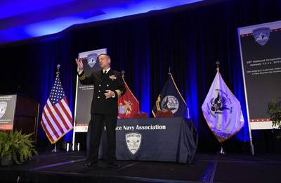 Rear Adm. Mat Winter, chief of naval research, discusses game-changing technology for the warfighter during a keynote address at the 28th Annual Surface Navy Association National Symposium. The Department of the Navy's Office of Naval Research provides the science and technology necessary to maintain the Navy and Marine Corps' technological advantage. (U.S. Navy photo by John F. Williams)
