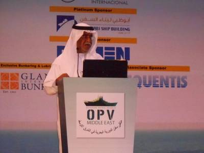 Rear Admiral (R) Ahmed Al Sabab Al Teneiji, former chief of naval forces for the UAE Navy, welcomes delegates to OPV Middle East 2013 in Abu Dhabi.  The event had attendees from all of the Gulf Cooperation Council naval or maritime forces, as well as Pakistan, Egypt, the U.S. U.K. and other nations. (Edward Lundquist photo)