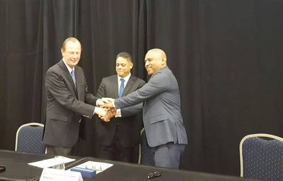 René H. Berkvens, Damen Shipyards Group CEO; Eugene Rhuggenaath, Minister of Economic Development; and Getmar Caldera, Managing Director CDM Holding (Photo: Damen)
