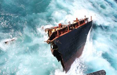 'Rena' in Breaking Waves: Photo credit Maritime NZ