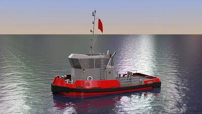 Rendering of one of two tugboats recently ordered by the New York Power Authority (NYPA) to replace two aging vessels—the Daniel Joncaire and the Breaker—that support the winter operations of NYPA's Niagara Hydroelectric Power Plant and the Sir Adam Beck Pumped Generating Station, owned by Ontario Power Generation. (Credit: NYPA)