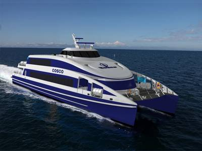 Rendering of the Coastal Cruiser 322 aluminum fast ferry for Cosco Xiamen (Image: CoCo Yachts)