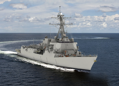"Rendering  of the future Jack H. Lucas (DDG 125), the first ""Flight III"" ship in the U.S. Navy's Arleigh Burke class of destroyers (Image: HII)"