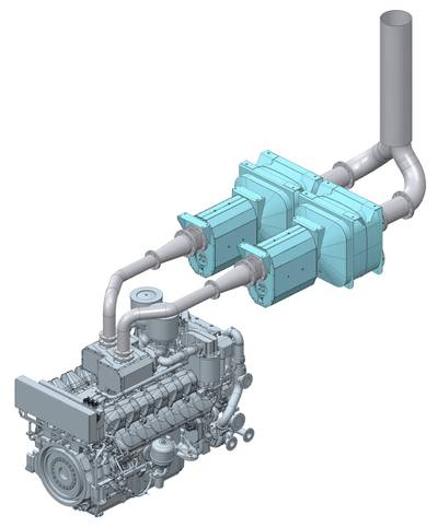 Rendering of the MAN 175D SCR system. Image: MAN Energy Solutions