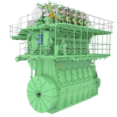 Rendering of the MAN B&W ME-LGIP engine, showing here a 6S50ME-LGIP type  (Photo: MAN Energy Solutions)