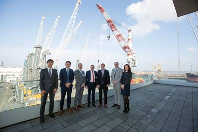 Representatives from Lindø port of Odense and Liebherr Rostock From left to right: Roman Chopyk (Sales Manager, Liebherr Rostock); Andreas Müller (Sales Director, Liebherr Mobile Harbour Cranes); Christian Kruse Trillingsgaard (Technical Manager, Lindø port of Odense); Carsten Aa (CEO, Lindø port of Odense); Leopold Berthold (Managing Director, Liebherr Rostock); Aron Boysen (Sales Manager, Liebherr Denmark), Sara Glasewald (Project Manager, Liebherr Rostock). Photo: Liebherr