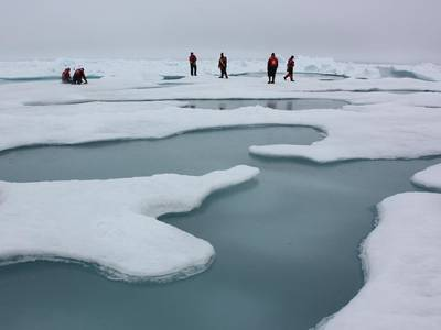 Researchers working on the Chukchi Sea in 2010 (photo courtesy of NASA/Kathryn Hansen)