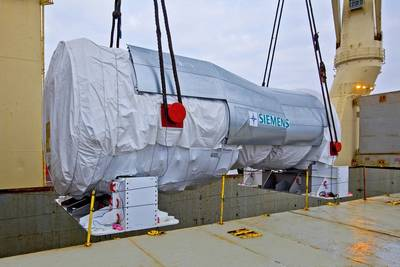 Rickmers-Linie was entrusted with the transport of this 485-metric-ton gas turbine made by Siemens for a power plant project in Turkey. (Photo: Hero Lang for Rickmers-Linie)