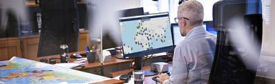 Risk Intelligence System data being assessed at the company's Hellerup offices, near Copenhagen, Denmark: together with its centers in North America and Singapore, Risk Intelligence provides worldwide maritime transportation security intelligence on a 24/7/365 basis. (Photo: Risk Intelligence)