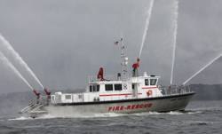 Gladding-Hearn Shipbuilding's new, high-speed fire/rescue boat.