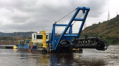 "Rohr-Idreco RISD 600 (24"") 100' digging depth dredge for removal of sedimentation behind the Inga dam in the Democratic Republic of Congo (Photo: Ellicott Dredges)"
