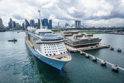 Royal Caribbean's Quantum of the Seas moored at Marina Bay Cruise Center in Singapore (File photo: Royal Caribbean)