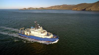 R/V Neil Armstrong sails into San Francisco Harbor at the conclusion of the first leg of its inaugural voyage in late 2015. (Image by Aerial Productions, ©Woods Hole Oceanographic Institution)