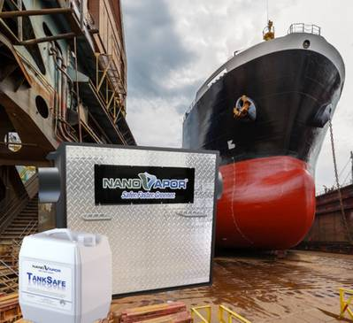 Safe cleaning of cargo and bunker tanks: new degassing technology developed by NanoVapor Inc is being introduced by EcoChlor and NanoVapor to reduce risks to seafarers when cleaning out confined spaces on board ship. (Photo: Ecochlor / NanoVapor Inc)