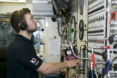 Sat control room on board one of Bibby Offshore's support vessels