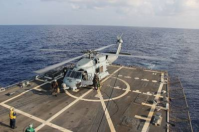 Sea Hawk helicopter lands on USS Pinckney