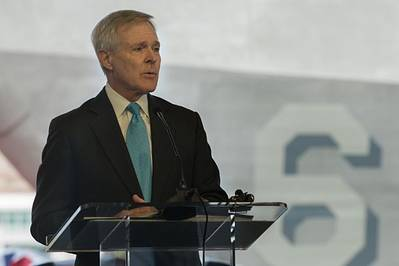 Secretary of the Navy (SECNAV) Ray Mabus delivers remarks during the christening ceremony for the future USS Jackson (LCS-6). During his speech, Mabus spoke about the littoral combat ship's capabilities as well as its namesake. (U.S. Navy photo by Mass Communication Specialist 1st Class Arif Patani/Released)