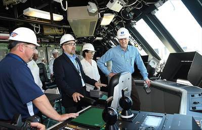Secretary of the Navy, The Honorable Richard V. Spencer (far right), tours LCS 13 (Wichita), during his tour of the Fincantieri Marinette Marine shipyard. He was joined by Ms. Polly Spencer, sponsor of LCS 27 (Nantucket) and Secretary Spencer's wife. Photo: Lockheed Martin
