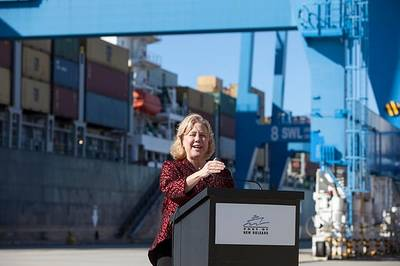 Sen. Landrieu at the Port of New Orleans (Photo: landrieu.senate.gov)