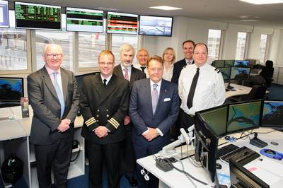 Shipping Minister John Hayes CBE MP (front row, third from left) at ABP Southampton with James Cooper, chief executive at Associated British Ports (front row, far left), Alastair Welch, port director at ABP Southampton port director (back row, far right) with staff at ABP Southampton (Photo: ABP)