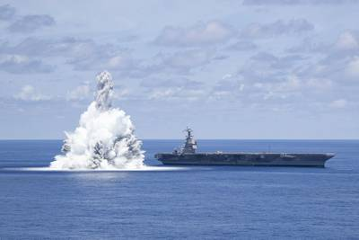 Shock trials are designed to demonstrate ships' ability to withstand the effects of nearby underwater explosion and retain required capability. (Photo: Jackson Adkins / U.S. Navy)