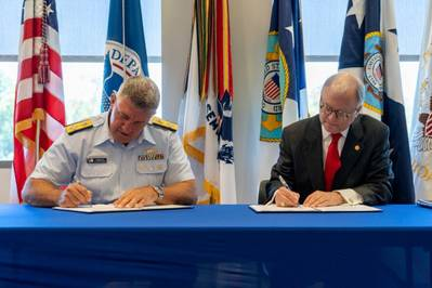 Signing for their respective agencies were Admiral Karl Schultz, Commandant U.S. Coast Guard and the Honorable Robert Sumwalt, Chairman of the NTSB. (Photo: USCG)