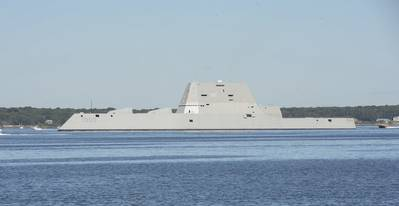 Guided-missile destroyer Pre-Commissioning Unit (PCU) Zumwalt (DDG 1000) departs from Naval Station Newport, R.I. following its maiden voyage from Bath Iron Works Shipyard in Bath, Maine. (U.S. Navy photo by Haley Nace)