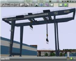 Simulated shipyard crane