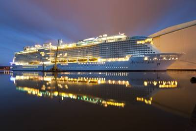 Sister ship to Ovation of the Seas, pictured is the Anthem of the Seas under construction at the Meyer Werft shipyard in Papenburg, Germany. (Photo courtesy of Michael Wessels)