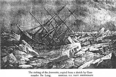 Sketch by LCDR. DeLong of Jeannette stuck and sinking in the ice in June 1881. US Navy image