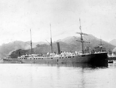 SS City of Rio de Janeiro built by John Roach & Son in 1878 at Chester, Pennsylvania, regularly transported passengers and cargo between Asia and San Francisco. Photo taken at Nagasaki, Japan, 1894. (Credit: San Francisco Maritime National Historical Park_ safr_21374_h06-04135_n)