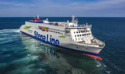 Stena Lines' new vessel Stena Estrid on the Irish Sea: The E-Flexer vessels represent the next generation RoPax vessels in terms of energy efficiency and can lower CO2 emissions by about 25% compared previous generations of ships. (Photo: Stena Line)
