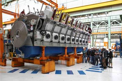 SUNY Maritime students get an up-close view of the assembly of an 18-cylinder Wärtsilä 50 diesel engine during their visit to Trieste, Italy. Photo Wartsila