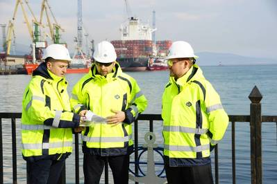 Supply Base Manager Alexander Pavlov (left) discusses planned upgrades