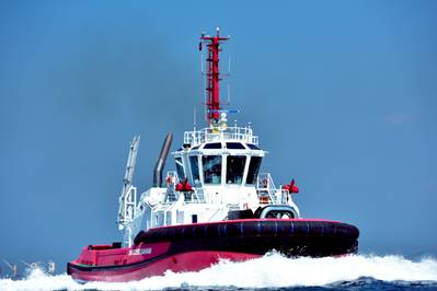 Svitzer Saham is the final vessel in a series of new tugs for Svitzer in the Port of Sohar. (Photo: Sanmar)