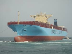 TAURO RICKMERS will be trading as MAERSK EVORA. She is one of the final  two 13,100 TEU container ships recently delivered by Hyundai Heavy Industries to Rickmers Group. Photo: Rickmers Group