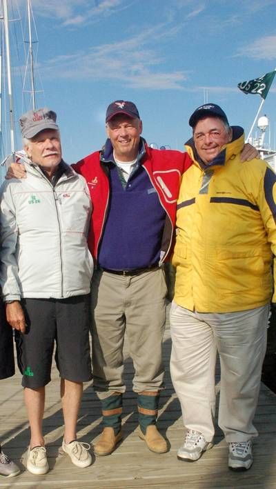 Ted Turner, Gary Jobson, Dennis Conner: Photo credit Pine Bros