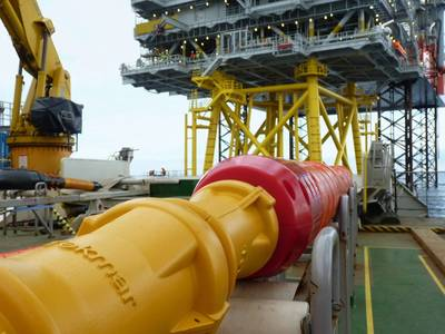 Tekmar Cable Protection System being installed on an offshore wind project. Photo provided by Tekmar.