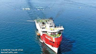 Tensions flared in August when Turkey sent its Oruc Reis seismic survey vessel to waters claimed by Greece - Image Credit: HUSEYIN YALCIN ATAN/MarineTraffic