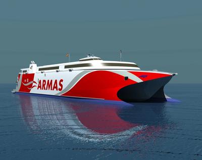 The 109 meter long wave-piercing vessel will be the third Incat built high speed catamaran to join the Naviera Armas fleet. (Image: Wärtsilä)