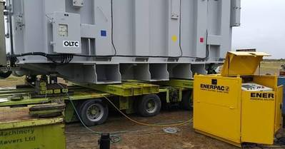 The 109.4 ton transformer weighed before its trip to India has its tonnage exactly verified by the Enerpac EVO hydraulic synchronous lifting system