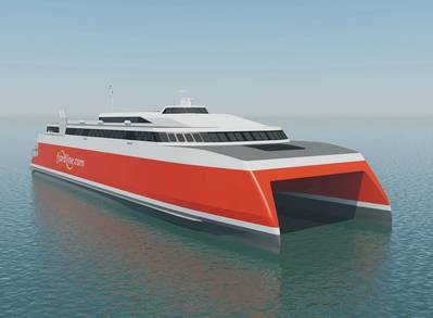 The 109m high-speed vehicle passenger ferry to be built by Austal for Fjord Line of Norway (Image: Austal)