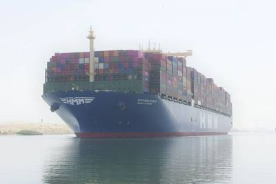 The 11th of HMM's 12 Megamax-24 containerships, HMM Le Havre, transits north through the Suez Canal on September 30, steering a course toward Rotterdam, ETA October 8. (Photo: HMM)