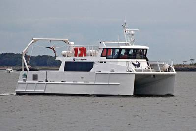The 19 m research vessel 'Spirit of the Sound' runs virtually silently on hybrid electric power for two-hour study cruises on Long Island Sound.