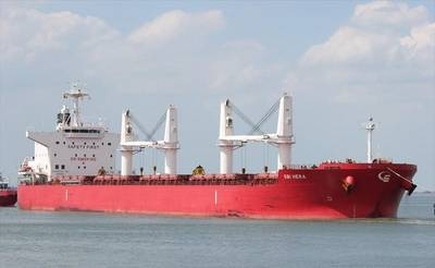 The 200-meter SBI Hera is a Liberian-flagged geared bulker built by Japan's Mitsui Engineering & Shipbuilding Co. (Photo: © Des Upcraft / MarineTraffic.com)